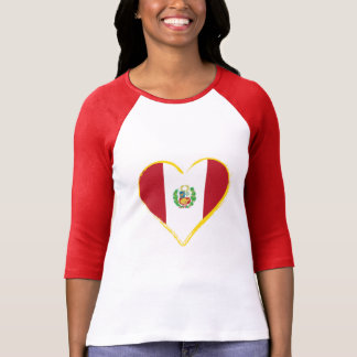 Peruvian Heart Shape Flag with Shield, T-Shirt