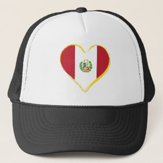 Peruvian Heart Shape Flag with Shield Trucker Hat