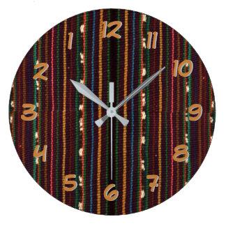 Peruvian Inca Weaving Design Stripes Large Clock
