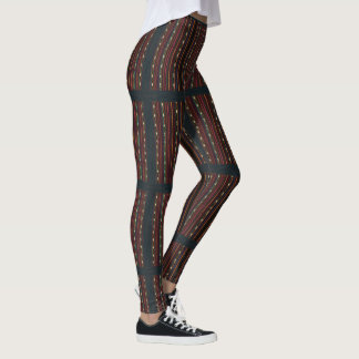 Peruvian Inca Weaving Design Stripes Leggings