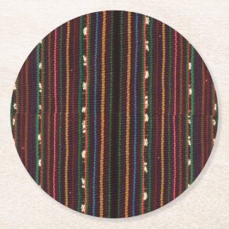 Peruvian Inca Weaving Design Stripes Round Paper Coaster