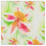 Peruvian lily botanical watercolor floral fabric