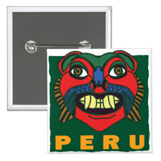 PERUVIAN MASK 2 INCH SQUARE BUTTON