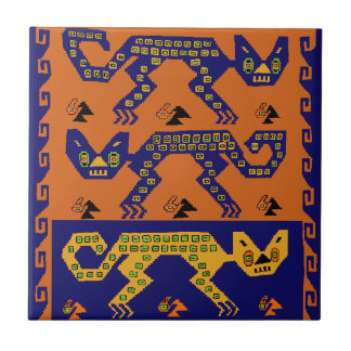Peruvian Tribal Cats Tile