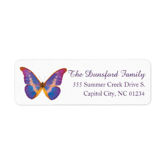 Peruvian Watercolor Butterfly Return Address Label