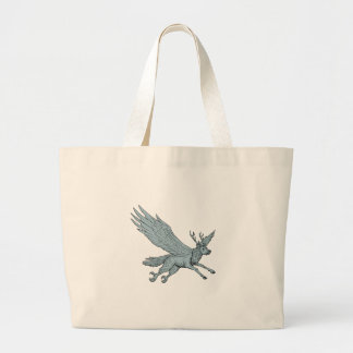 Peryton Flying Side Drawing Large Tote Bag