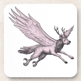 Peryton Flying Side Tattoo Coaster