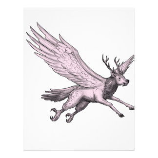 Peryton Flying Side Tattoo Letterhead