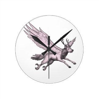 Peryton Flying Side Tattoo Round Clock