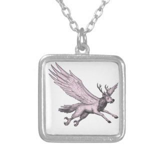 Peryton Flying Side Tattoo Silver Plated Necklace