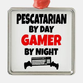 Pescatarian Gamer Silver-Colored Square Ornament