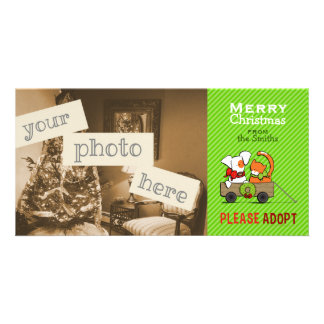Pet Adoption Christmas Green Stripe Patch n Rusty Photo Cards