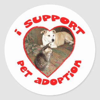 Pet Adoption Kitten With Pit bull Round Sticker