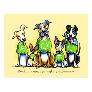 Pet Adoption Non Profit Green Tee Dogs Custom Postcard