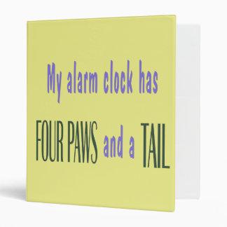 Pet Alarm Clock - Yellow Background 3 Ring Binders