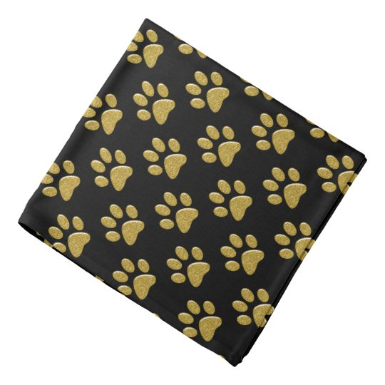 Pet Bandana - Gold Bling Paw Prints on Black