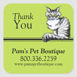 Pet Business Maine Coon Cat Off-Leash Art™ Custom Square Sticker