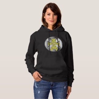 Pet Cancer Iron Cross Ladies Hoodie