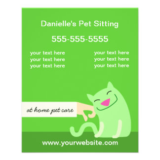 Pet Care Flyer-Petting Cat green Full Colour Flyer