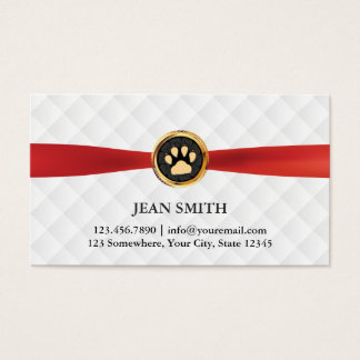 Pet Care Gold Paw Red Ribbon Elegant Business Card