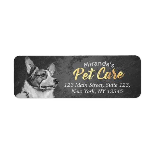 Pet Care Grooming Black and White Dog Oil Painting Return Address Label