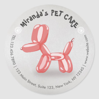 Pet Care Grooming Sitting Bathing Cute Dog Balloon Classic Round Sticker