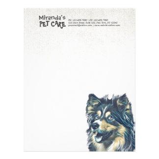 Pet Care Sitting Adorable Cartoon Dog Illustration Letterhead Design