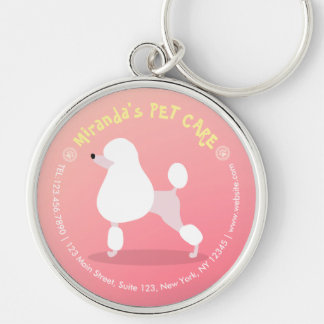 Pet Care Sitting Adorable Cartoon Dog Illustration Silver-Colored Round Keychain