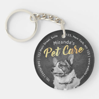 Pet Care Sitting Black and White Dog Oil Painting Double-Sided Round Acrylic Keychain