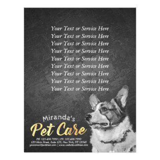 Pet Care Sitting Black and White Dog Oil Painting Flyer