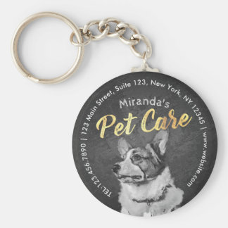 Pet Care Sitting Black and White Dog Oil Painting Keychain