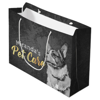 Pet Care Sitting Black and White Dog Oil Painting Large Gift Bag