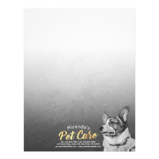 Pet Care Sitting Black and White Dog Oil Painting Letterhead