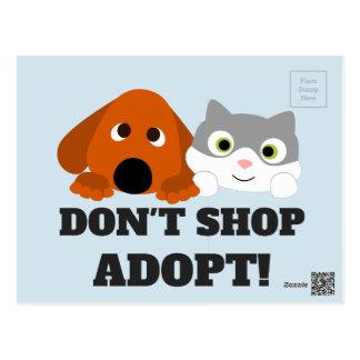 Pet Cat Dog Rescue Don't Shop Adopt! Postcard