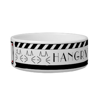"Pet/Cat Medium Bowl Black/White ""Feed Me/Hangry"""