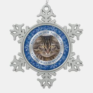 Pet Cat Memorial Photo Christmas Blue Silver Pewter Snowflake Ornament