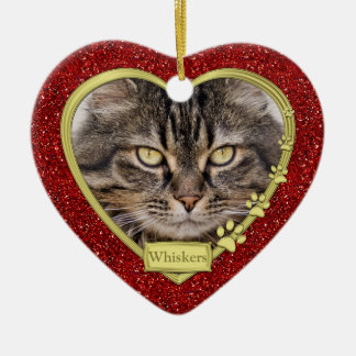 Pet Cat Memorial Red Gold Heart Photo Christmas Ceramic Heart Ornament