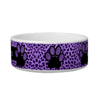 Pet Cat's Name with Purple on Purple Cheetah Bowl