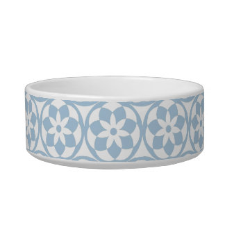 PET CHIC_ BOWL, 21 BLUE CIRCLES PET FOOD BOWL