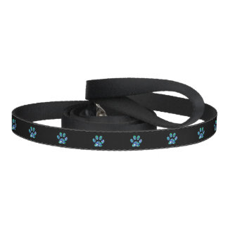 Pet Collar Teal Blue Bling Paw Prints Dog Leash