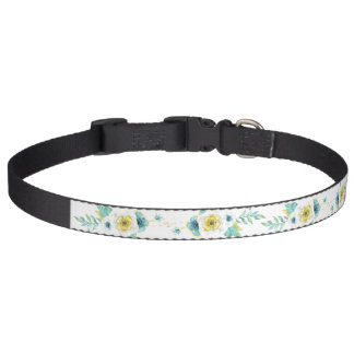 Pet Collar with Yellow Flowers Green Leaves