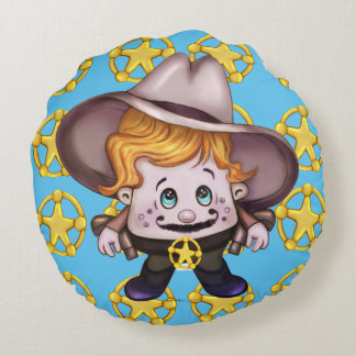 PET COWBOY Brushed Polyester Round Round Pillow