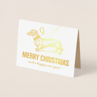 Pet Dachshund Merry Christmas Foil Card