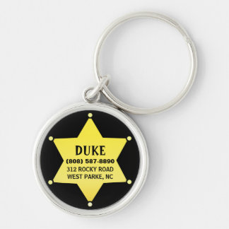 Pet Dog ID Tag - Gold Sheriff Star Design Keychain