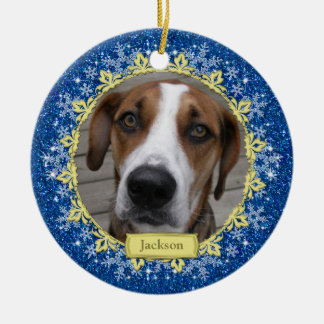 Pet Dog Memorial Blue Snowflake Photo Christmas Ceramic Ornament