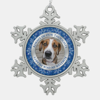 Pet Dog Memorial Photo Christmas Blue Silver Pewter Snowflake Ornament