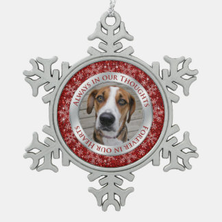 Pet Dog Memorial Photo Christmas Red Silver Pewter Snowflake Ornament