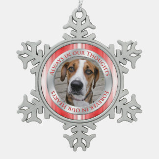 Pet Dog Memorial Photo Christmas Red Silver White Pewter Snowflake Ornament