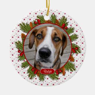 Pet Dog Memorial Pine Boughs Holly Photo Christmas Round Ceramic Ornament