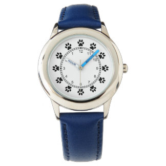 Pet dog paws blue cool kids watch